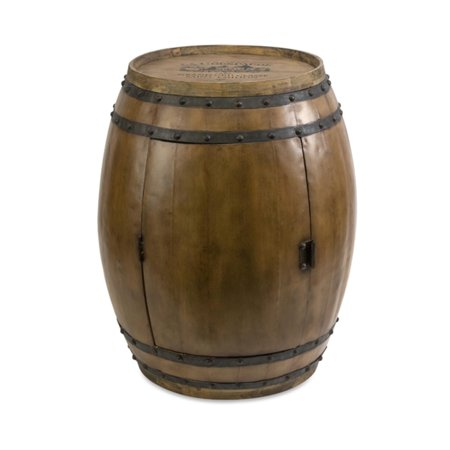 """24.25"""" Tuscan Winery Fir Wood Wine Barrel Side Table with Interior Bottle Rack"""