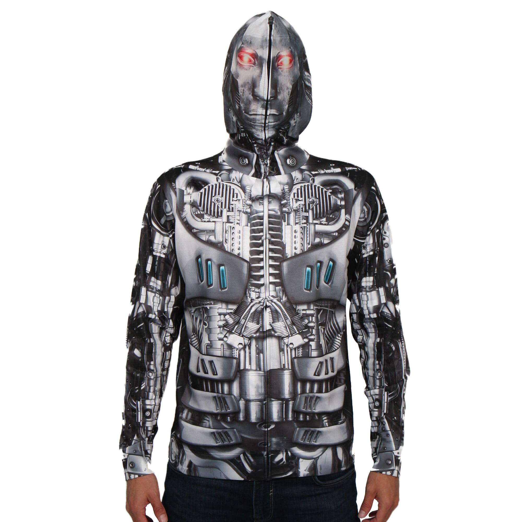 Robot Mask Hoodie Men's Long Sleeve Full Mask Zip up Hoodie