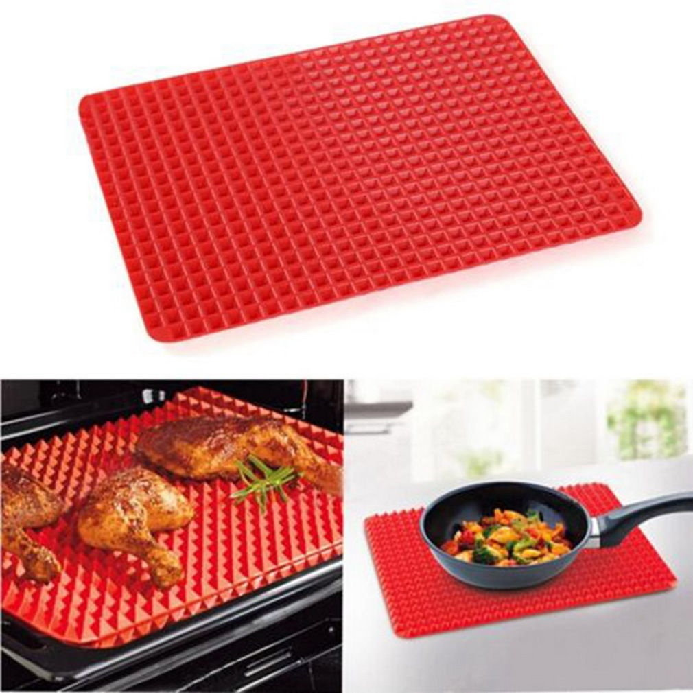 "Silicone Baking Mat, Non-stick Cooking Mats, Oil Drain and Pyramid Design for Turkey, Pizza and Cookie Sheet - 16"" x 11.5"" (Red)"