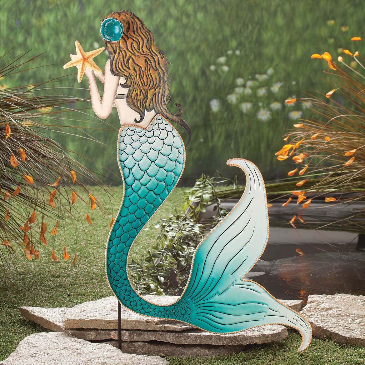 Metal Mermaid Yard Stake By Fox River