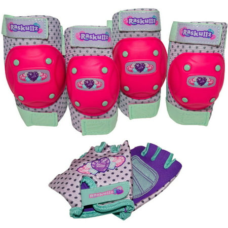 C -Preme Raskullz Hearty Gem Elbow and Knee Pad Set, with Gloves