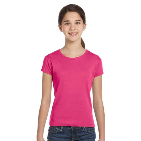Bella + Canvas Girls' Baby Rib Short Sleeve Tee](Pink Bat Girl)