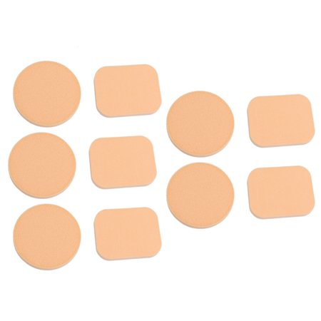 Unique Bargains 5 Pairs Rectangle Round Shaped Sponge Powder Puff Facial Face Pad Makeup Tool Women Lady Peach Puff