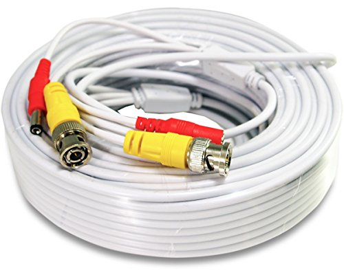 30ft White Premade Bnc Video Power Cable Wire For
