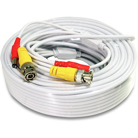 30FT White Premade BNC Video Power Cable / Wire For Security Camera, CCTV, DVR, Surveillance System, Plug & Play (White, -