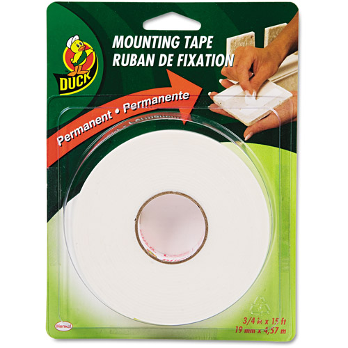 "Duck Brand Permanent Foam Mounting Tape, 3/4"" x 15', White"