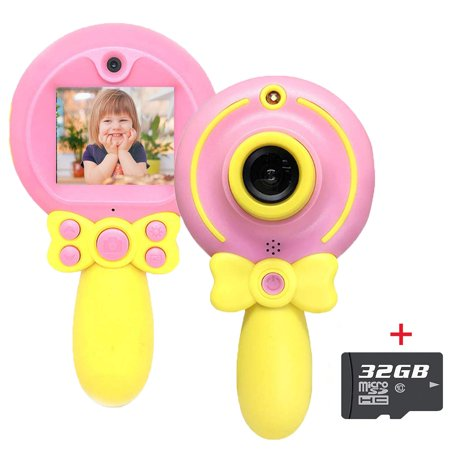 LNKOO Kids Camera Digital Front and Rear Selfie Cameras with 32GB SD Card, Toddler Video Recorder and Game Machine 2.0 in 5MP HD Magic Wand Toys Mini Camera for 3-8 Year Boys Girls Birthday Gifts (Iphone 4s Front Camara)