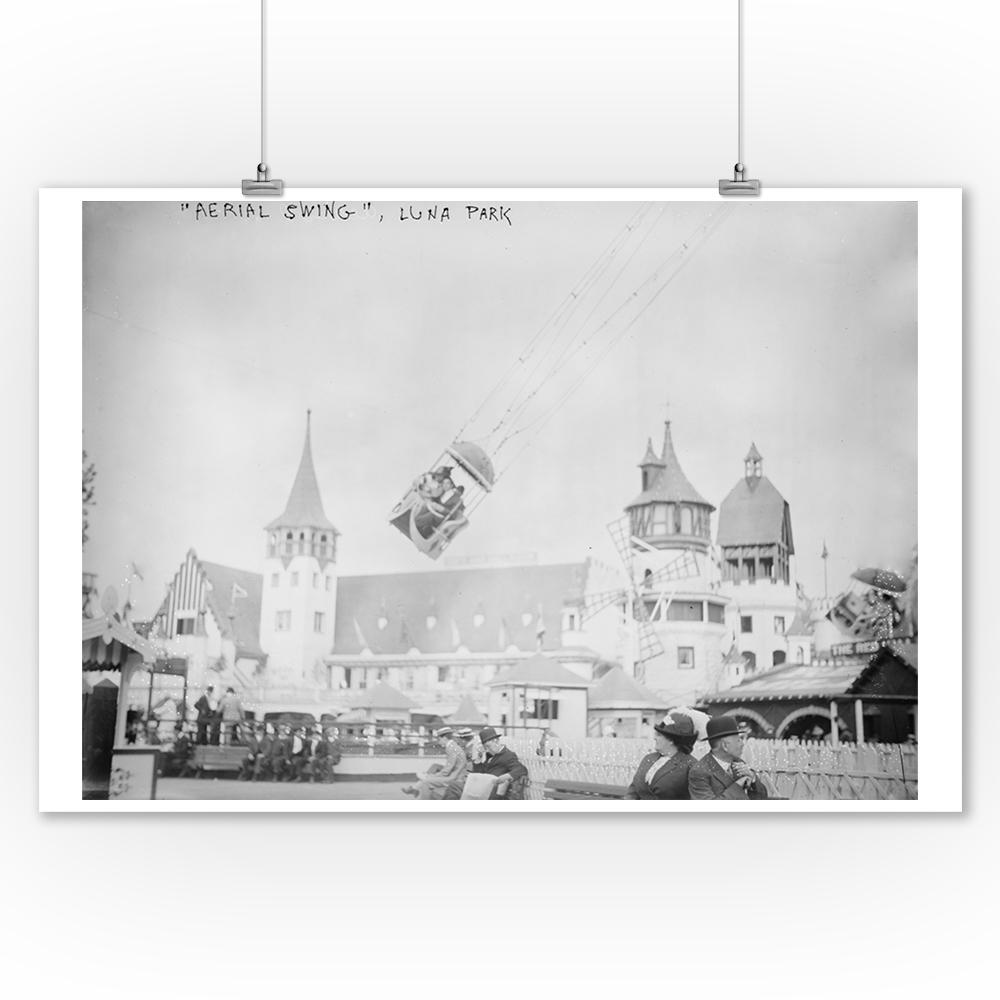 Luna Park Aerial Swing Ride at Coney Island, NY Photograph (9x12 Art Print, Wall Decor Travel Poster)