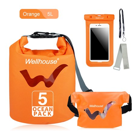 Set of 3 Waterproof Dry Bag Waist Pack and Phone Case Outdoor Travel Beach Storage Bags for Kayking Rafting Boating ()
