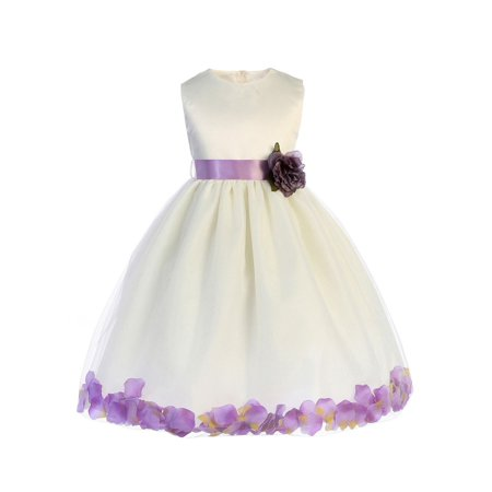 Crayon Kids Baby Girls Ivory Lilac Floating Petals Flower Girl Dress