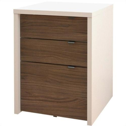 Nexera Liber-T 3 Drawer Filing Cabinet in White and Walnut