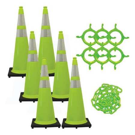 MR. CHAIN 97277-6 36 in. Height Traffic Cone and Chain Kit - Green,