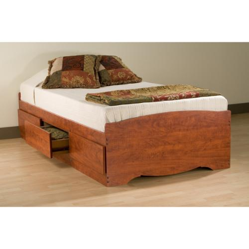 Prepac Manufacturing Cherry Twin Mate's Platform Storage Bed with 3 Drawers