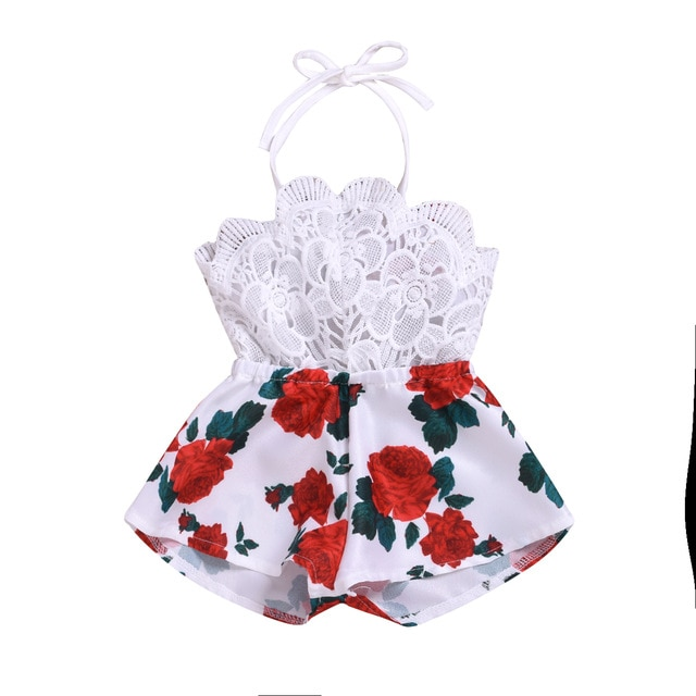 0-3years Baby Girl Romper Summer Cotton Sleeveless Lace-up Dress Short Floral Print Holiday Party Clothes