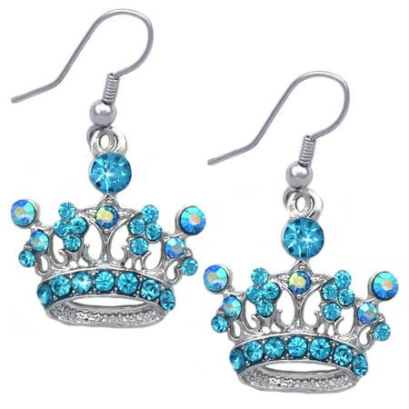 Crown Dangle Earrings (cocojewelry Queen Princess Crown Tiara Charm Hook Dangle Earrings)