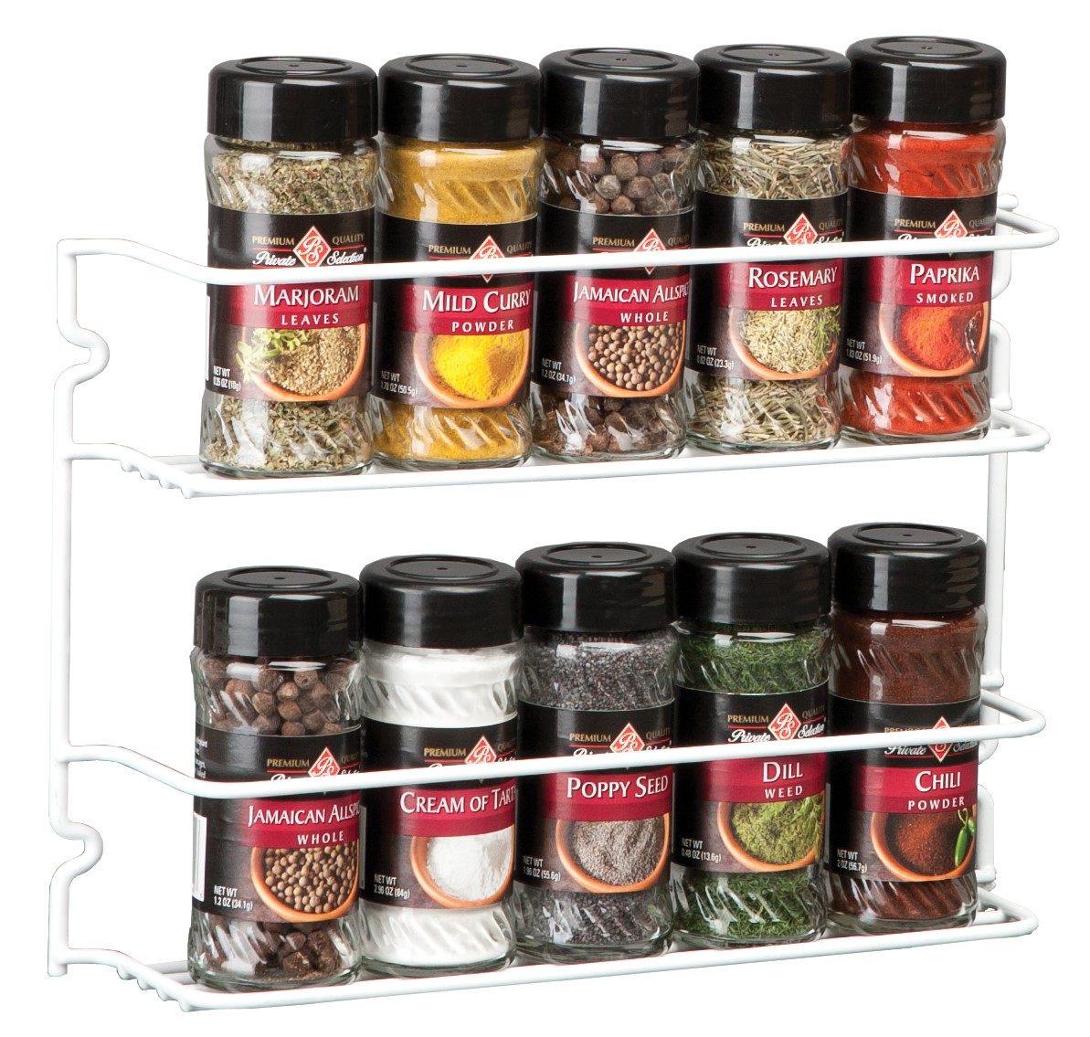 Panacea Spice Rack with 2 Shelves, White