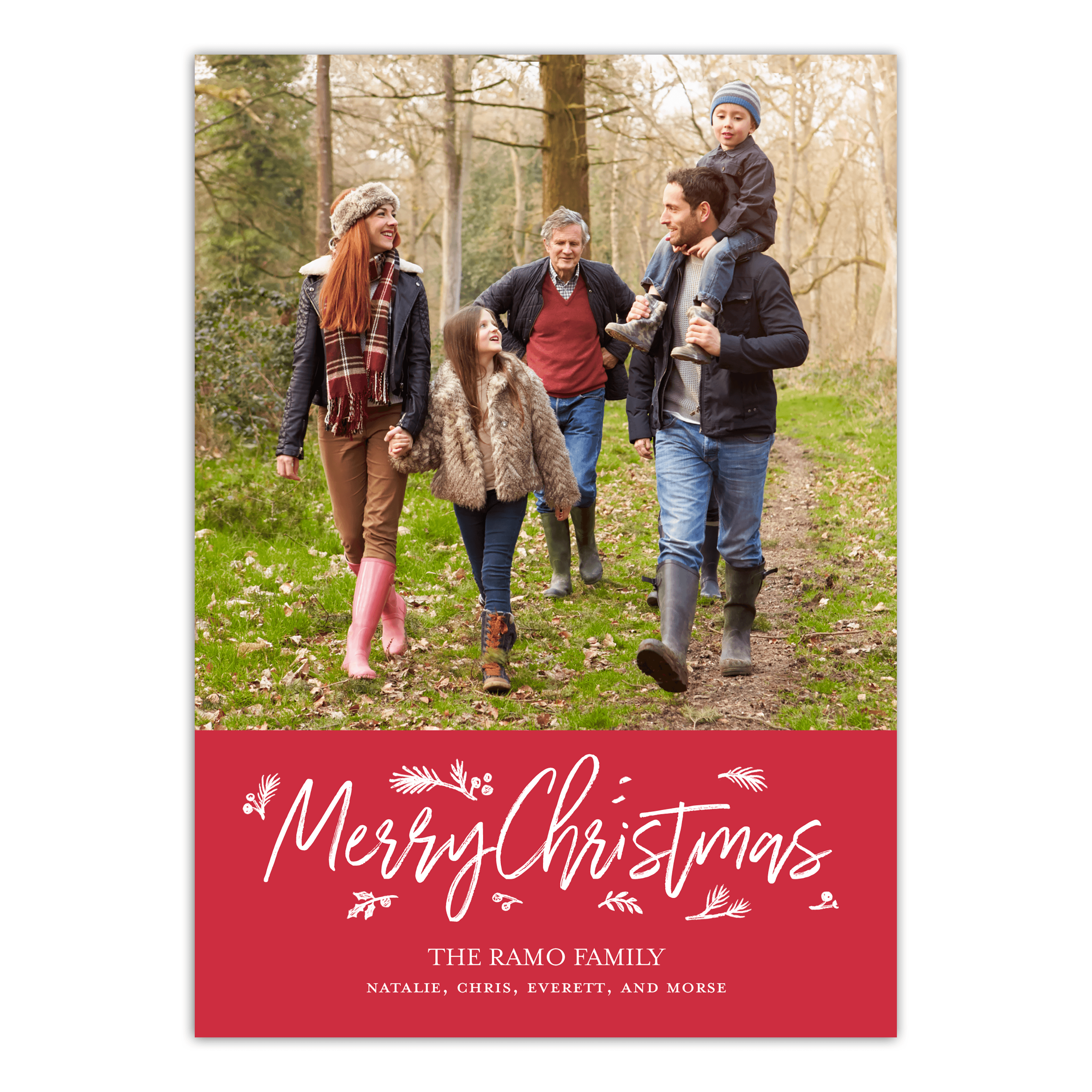 Personalized Holiday Photo Card - Modern Merry Sprigs