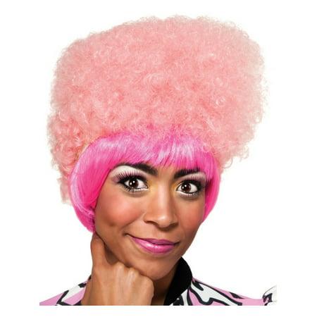 Adult Nicki Minaj Pink Curly High Top Costume Wig with Bangs