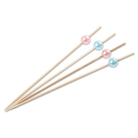Andaz Press Natural Bamboo Drink Stirrer Cocktail Picks, 5-Inch, Light Pink, Baby Blue Pearl Bead, Toothpicks, 100 Pack