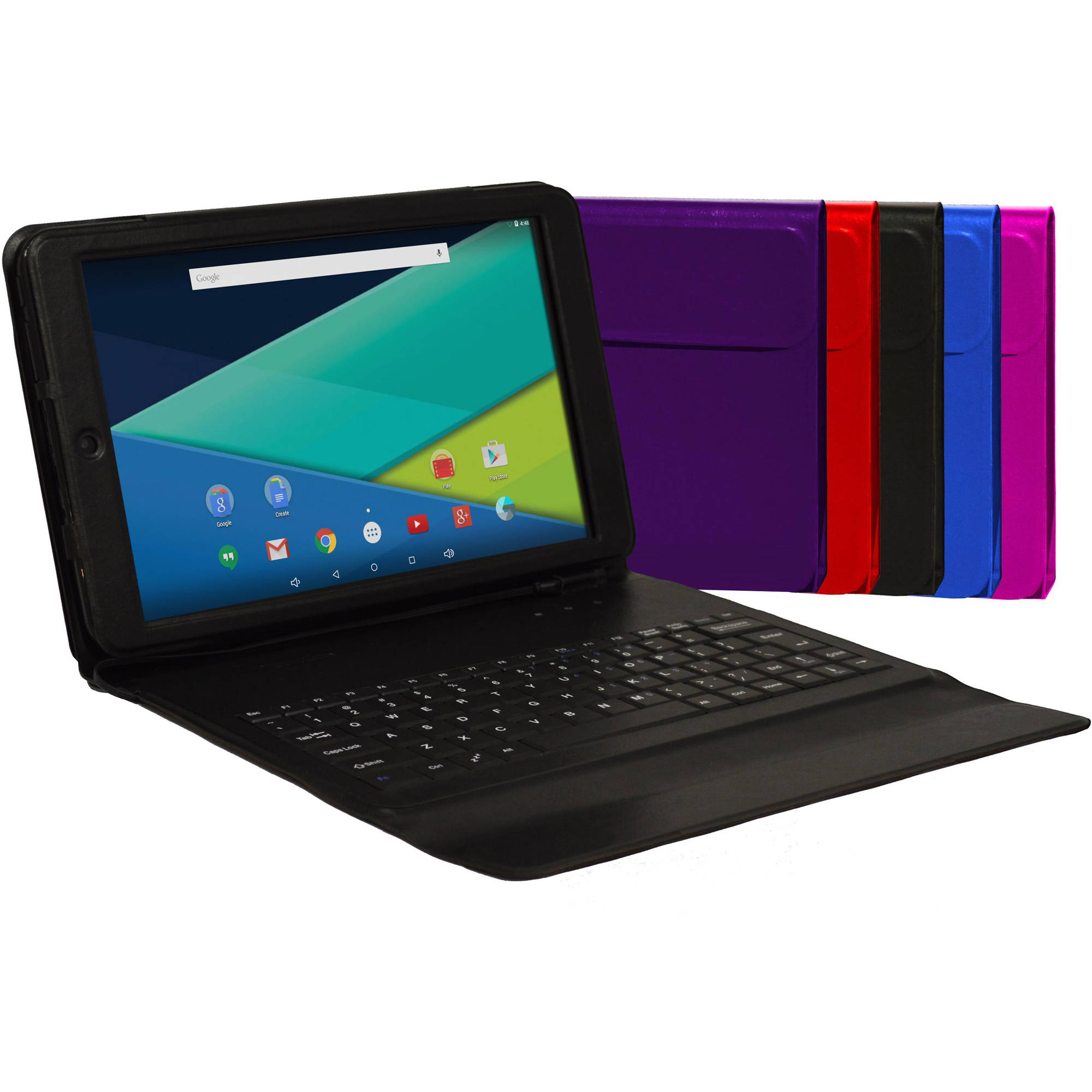 "Visual Land Prestige Elite 10.1"" Tablet 16GB Quad Core Android 5.0 Keyboard Case"