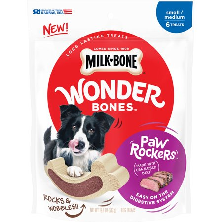 Milk-Bone Wonder Bones Paw Rockers with Real Beef, Long Lasting Dog Treats, Small-Medium, 18.8 (Paw Print Dog Bones)