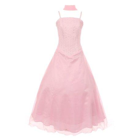 Girls Pink Bugle Bead Embellished A-Line Junior Bridesmaid Dress