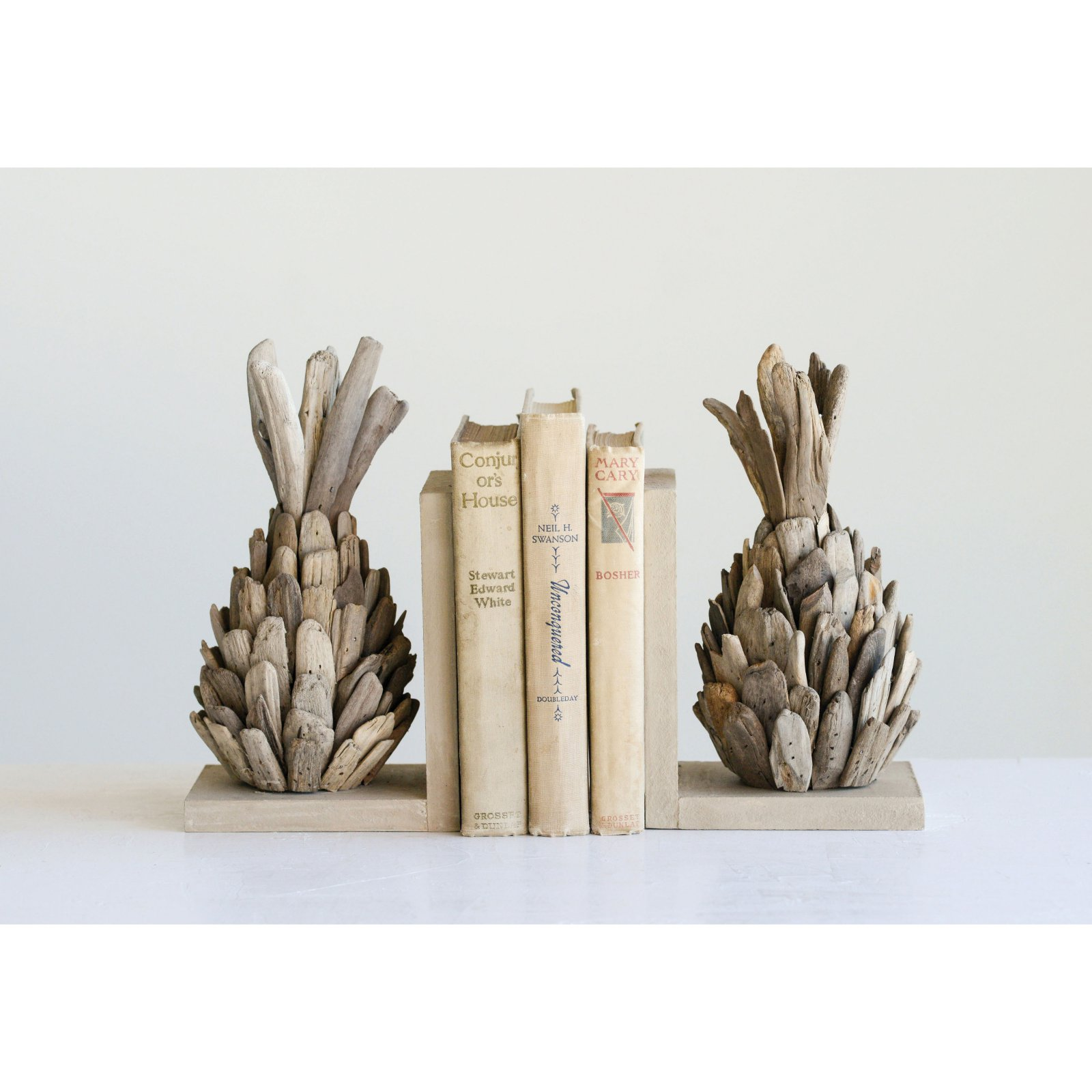 3R Studios Set of Driftwood Pineapple Bookends by Creative Co-op Inc