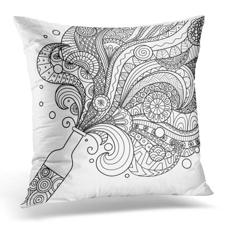 CMFUN Wine Black Mandala Champagne Bottle Line Design for Coloring Book for Adult and White Doodle Drink Pillow Case Cushion Cover 18x18