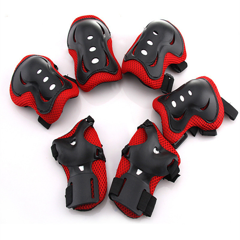6 Pieces Kids Outdoor Sports Protective Gear Knee Pads Elbow Pads Wrist Guards for Roller Skating Safety Protection Color:Red