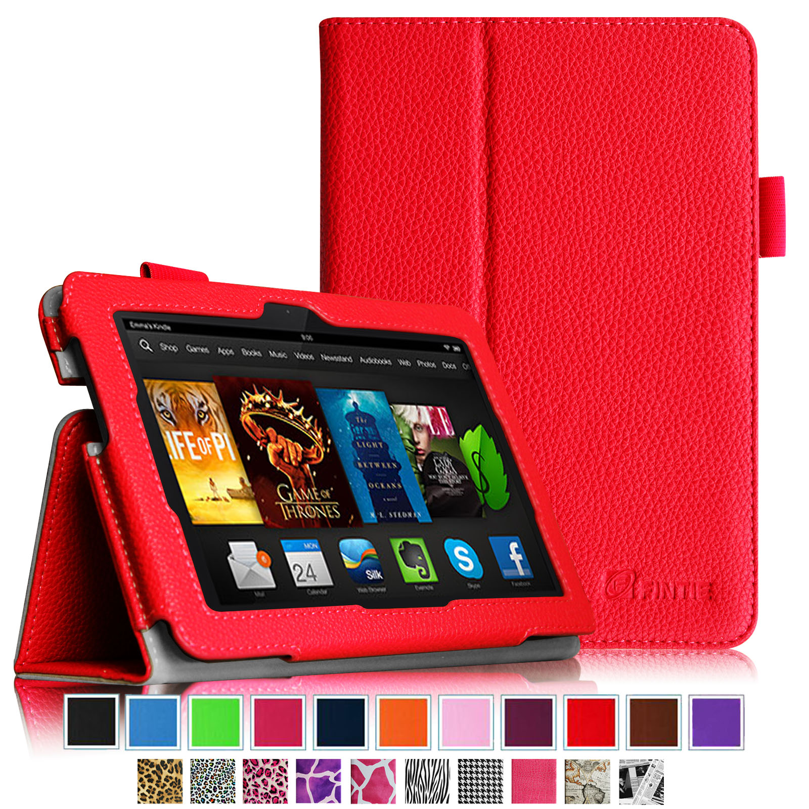 "Fintie Kindle Fire HDX 7 Folio Case Cover - Auto Sleep/Wake (will only fit Kindle Fire HDX 7"" 2013), Red"