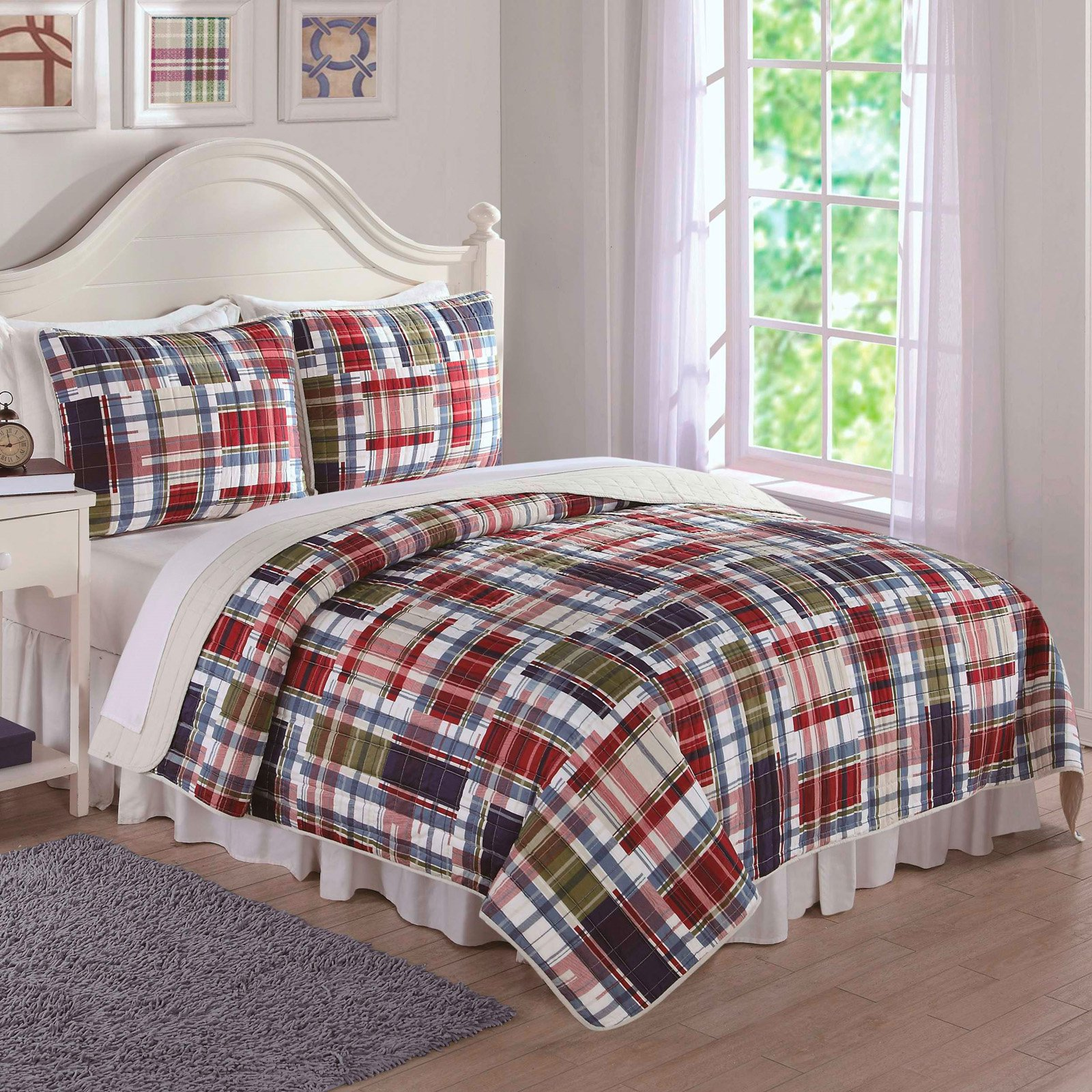 Navy Khaki Preppy Plaid Bedding Quilt Set by PEM AMERICA