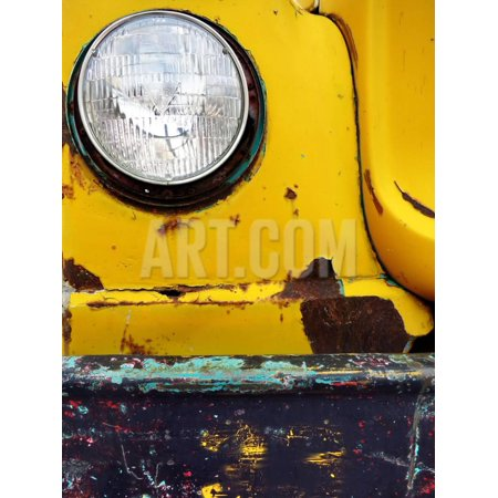 Closeup Detail of Old Bumper and Headlight on Truck Car Scraped Paint Chips Print Wall Art By eric1513