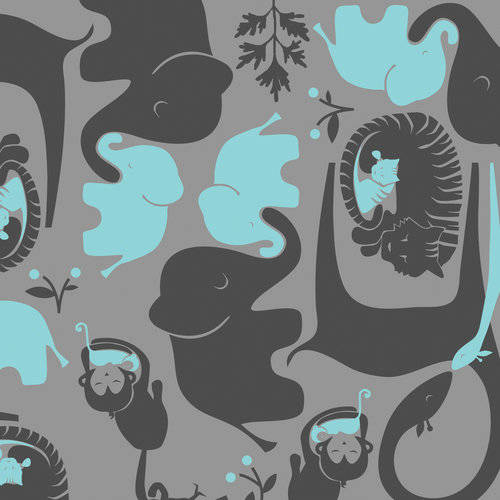 Emma & Mila Cotton Grey in Animals The Baby Mine Collection Fabric, per Yard
