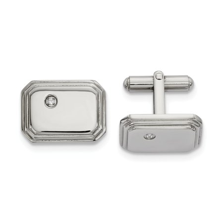 Crystal Cubic Zirconia Cufflinks - Chisel Stainless Steel Polished with CZ Cufflinks