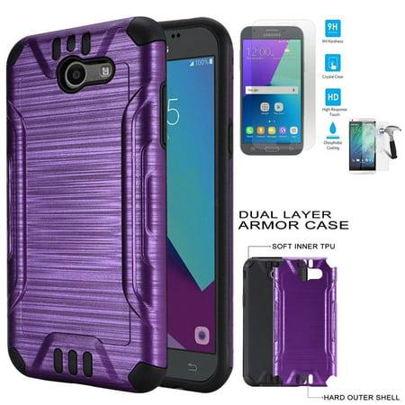 Phone Case For Straight Talk Samsung Galaxy J7 Sky Pro / Verizon Samsung Galaxy J7 V / Galaxy J7 Perx Tempered Glass ...