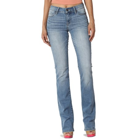 Womens Light Blue Jeans - TheMogan Women's Mid Rise Slim Fit Bootcut Jeans in Soft Stretch Light Blue Denim