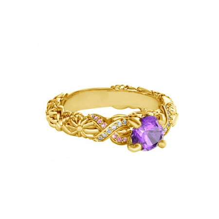 Purple,Pink and White Cubic Zirconia Disney Rapunzel Princess Ring In 14k Yellow Gold Over Sterling Silver 14k White Gold Cz Rings