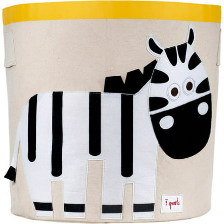 3 Sprouts Zebra Storage Bin - Yellow Vinyl Non Storage