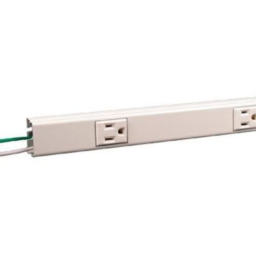 Hardwired power outlet strip white