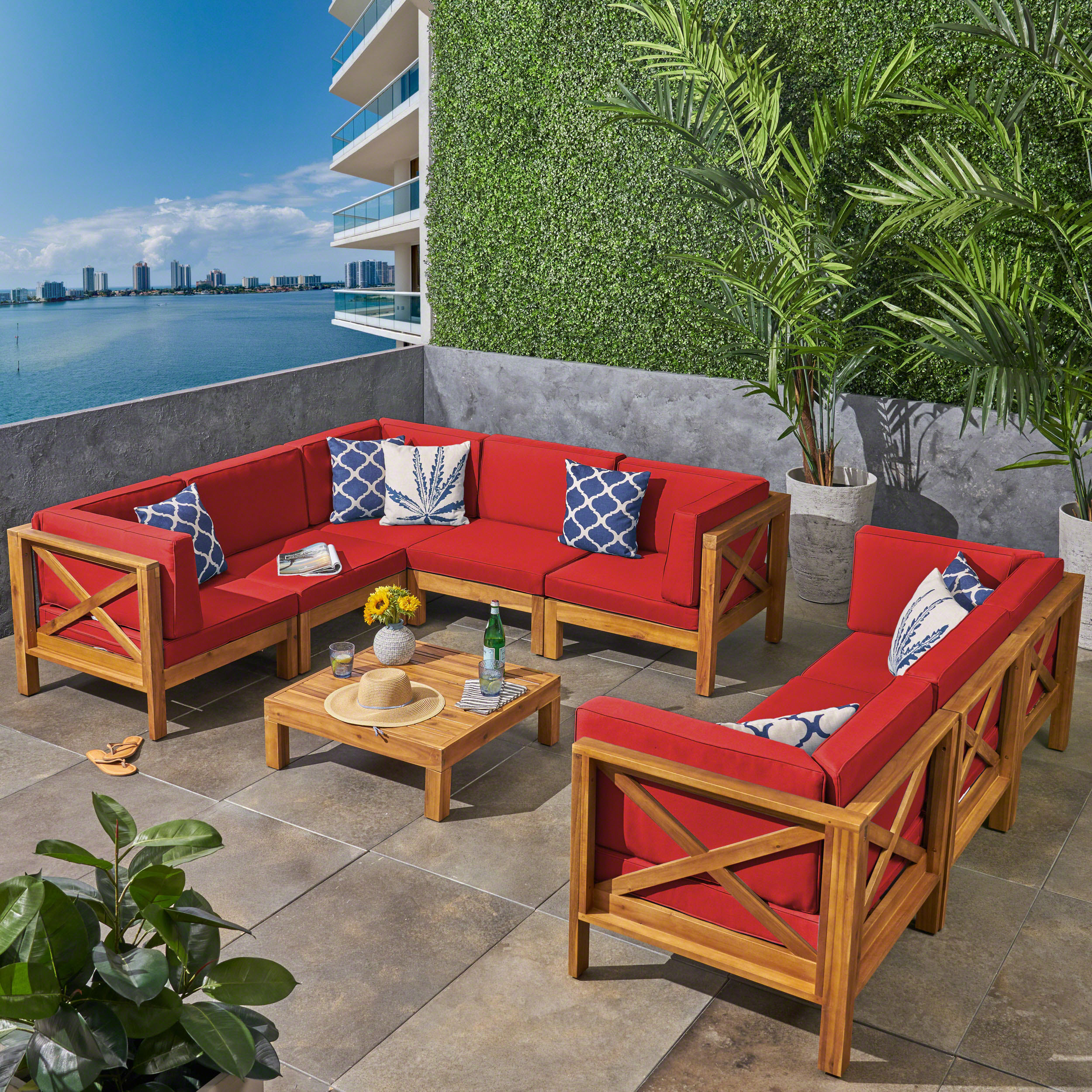 Elisha Outdoor 9 Piece Acacia Wood Sectional Sofa Set and Coffee Table with Cushions, Teak, Blue by Noble House