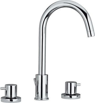 Whitehaus WHLX78214-BN Widespread Deck Mount Lavatory Faucet In Brushed Nickel