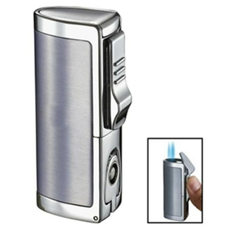 Aleus Brushed Chrome Triple Jet Cigar Lighter with Built-in (Chrome Lower Triple Tree Cover)