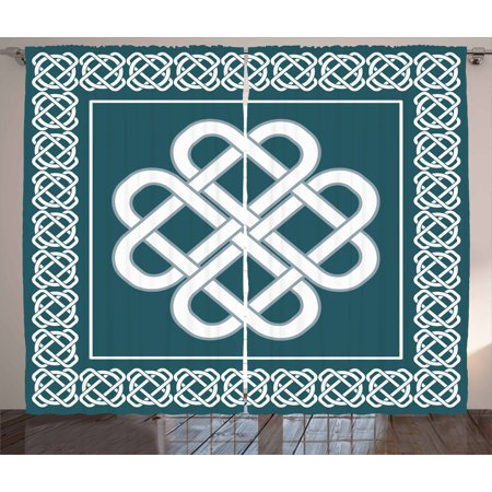 Irish Curtains 2 Panels Set, Celtic Love Knot Symbol of Good Fortune Framework Border Historical Amulet Design, Window Drapes for Living Room Bedroom, 108W X 108L Inches, Blue and White, by Ambesonne