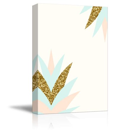 wall26 - Canvas Wall Art - Pastel and Gold Glitter Geometric Canvas Art - Giclee Print Gallery Wrap Modern Home Decor Ready to Hang - 32x48 inches