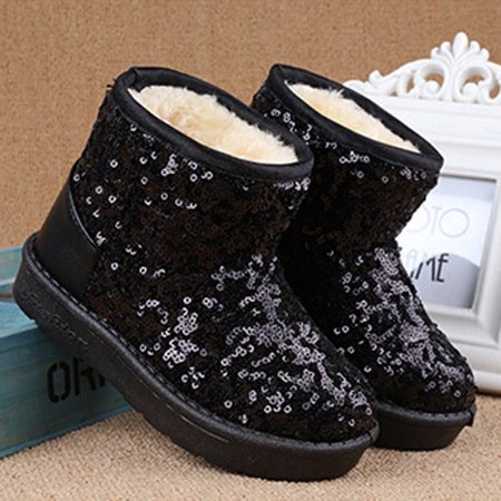 Infant Toddler Baby Girls Sequins Boots Boys Kids Winter Thick Snow Boots Shoes