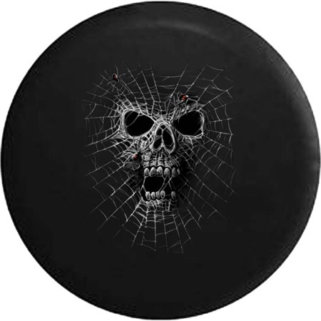 Scary Skeleton Spider Web Dark Halloween Spare Tire Cover fits Jeep RV 30 Inch](Rv Halloween)