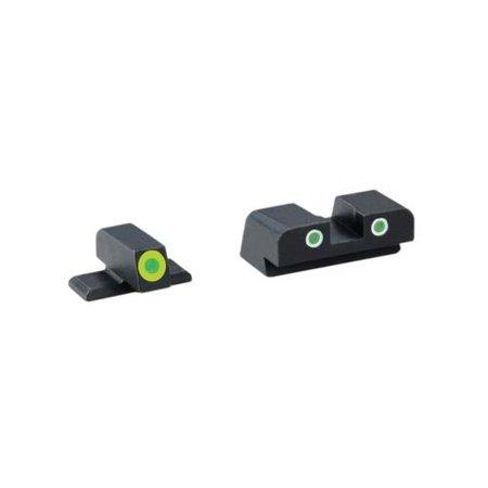 Ameriglo Tritium Front/Rear Combo Sights Green Dot White Outline Rear And (Mossberg 20 Gauge Slug Barrel Scope Combo)