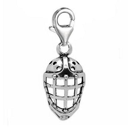 - Clip-on Hockey Helmet Charm for European Charm Jewelry w/ Lobster Clasp