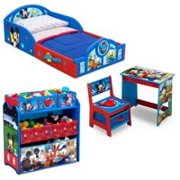 Disney Mickey Mouse 4-Piece Room-in-a-Box Bedroom Set by Delta Children - Includes Sleep & Play Toddler Bed, 6 Bin Design & Store Toy Organizer and Desk with Chair
