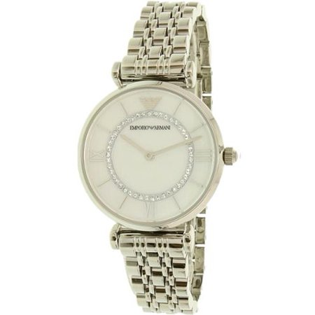 Mother Of Pearl Silver Wrist Watch - Emporio Armani Women's Watch Silver/Mother of Pearl AR1908